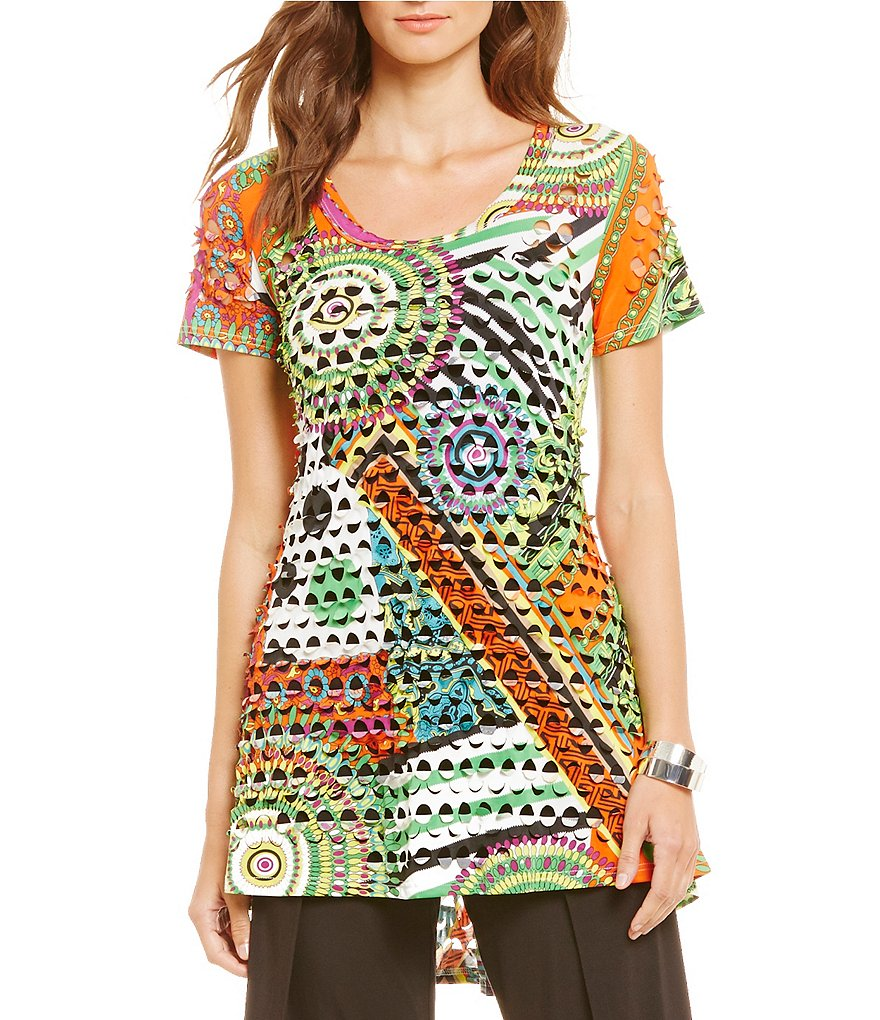 Paris Hues Laser Cut Short Sleeve Hi-Low Tunic