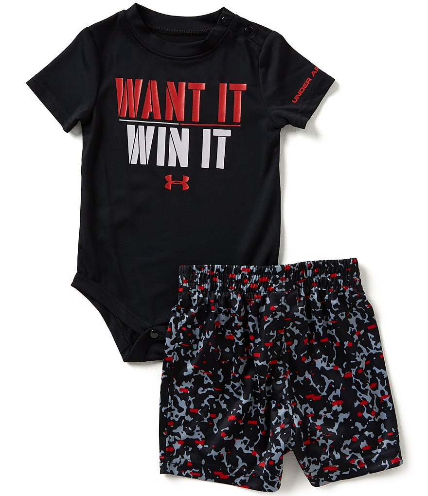 Under Armour Baby Boys Newborn-12 Months Want It Win It Bodysuit and Shorts Set