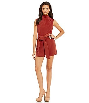 Keepsake Escape Mock Neck Sleeveless Self-Tie Waist Playsuit