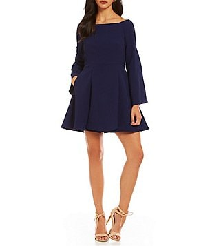 C/MEO Loud Places Off-the-Shoulder Bell Sleeve Fit-And-Flare Dress