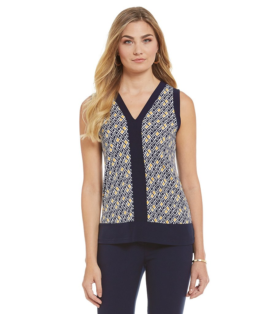 Jones New York Geometric Blocked Print Hi-Low Knit Top