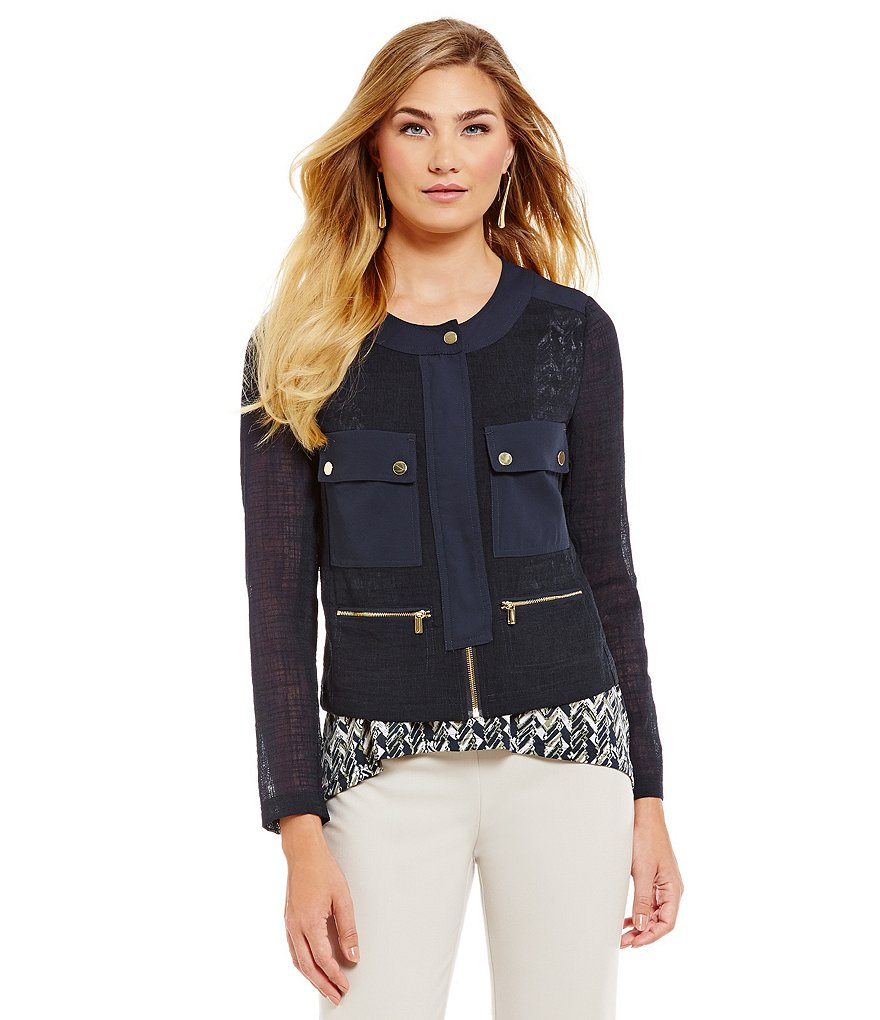 Jones New York Textured Crepe Sateen Trim Four Pocket Cropped Jacket