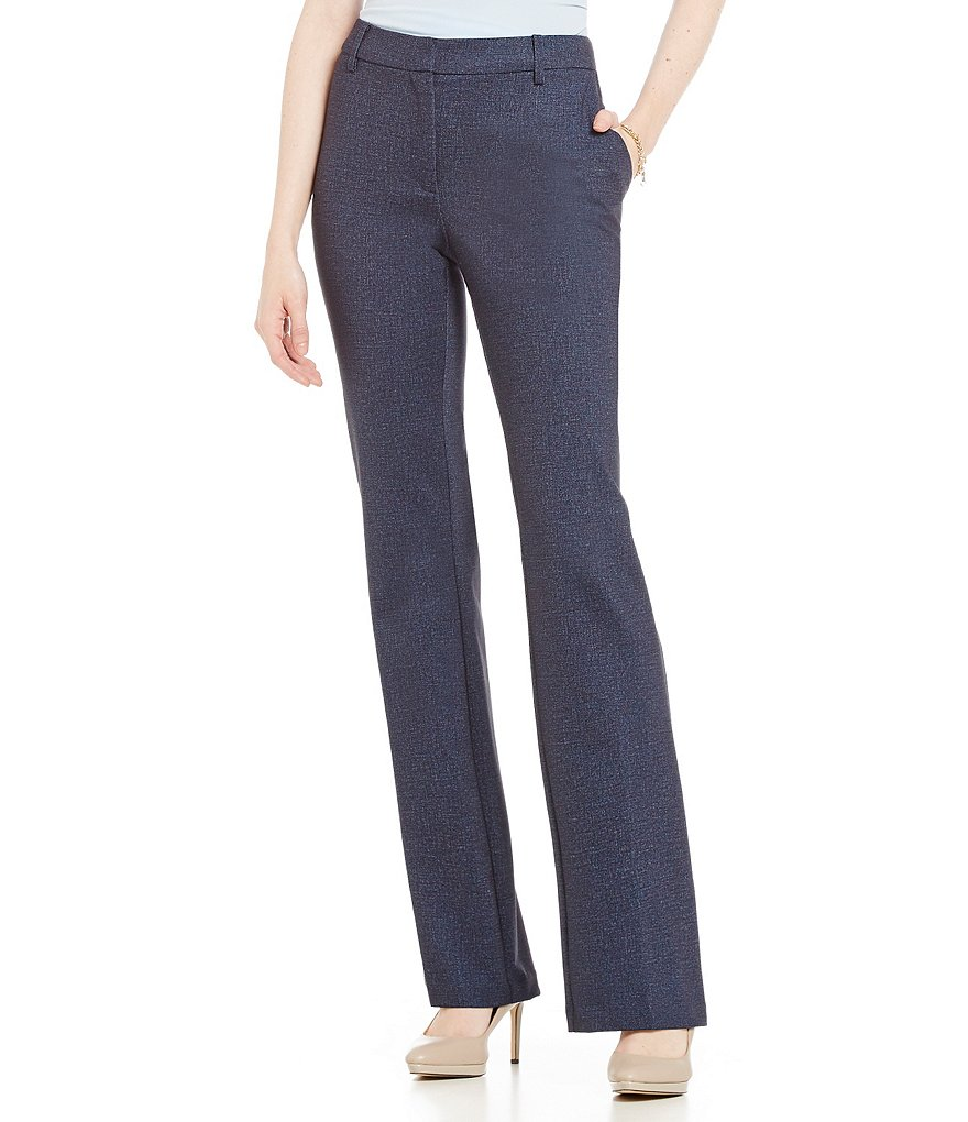 Jones New York Melange Printed Ponte Grace Boot Cut Pants