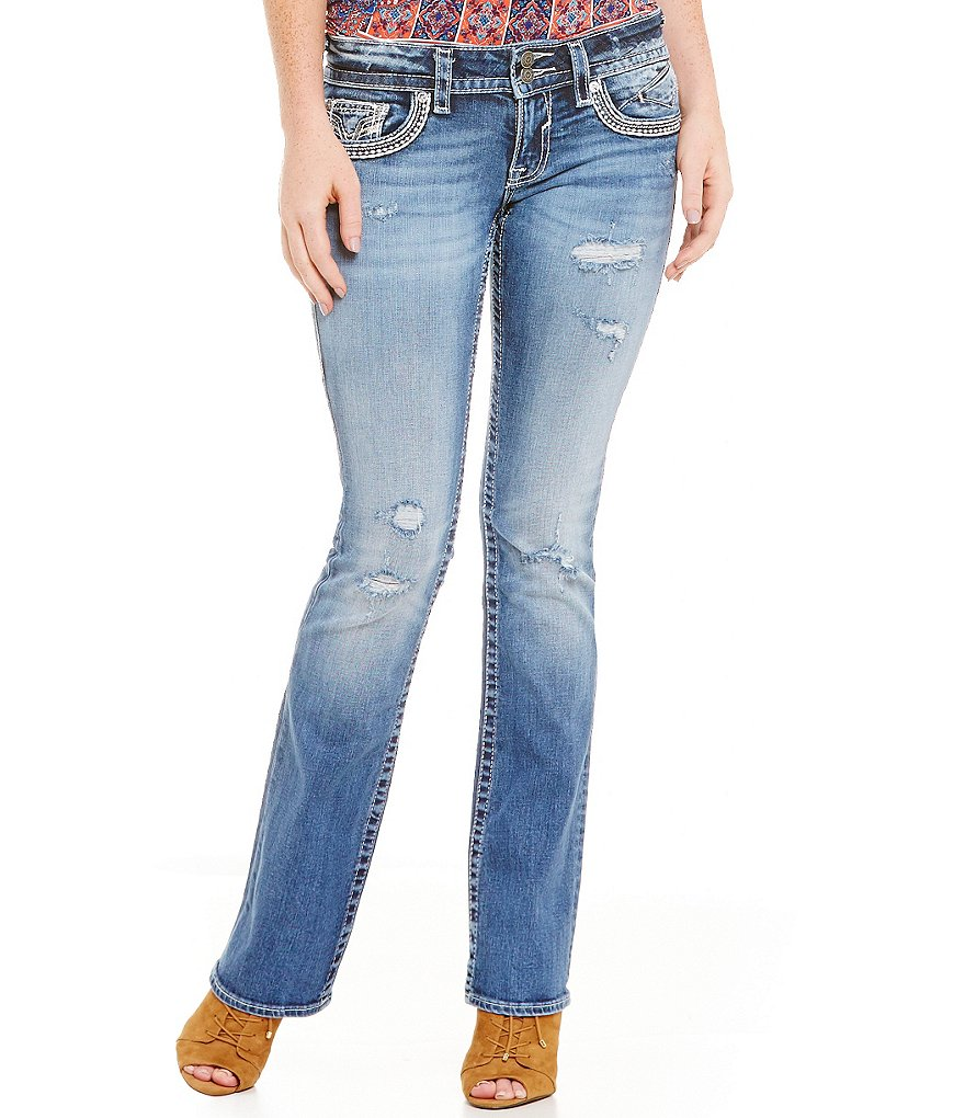 Vigoss Jeans Chelsea Nail Head Pocket Distressed Bootcut Jeans