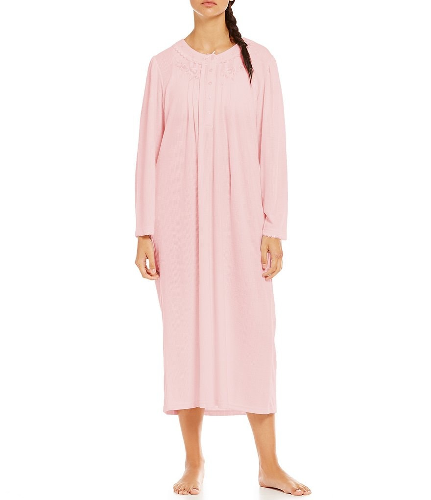 Miss Elaine Striped Honeycomb-Knit Nightgown