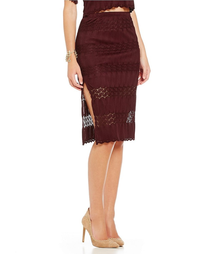 Band Of Gypsies Crochet Midi Skirt
