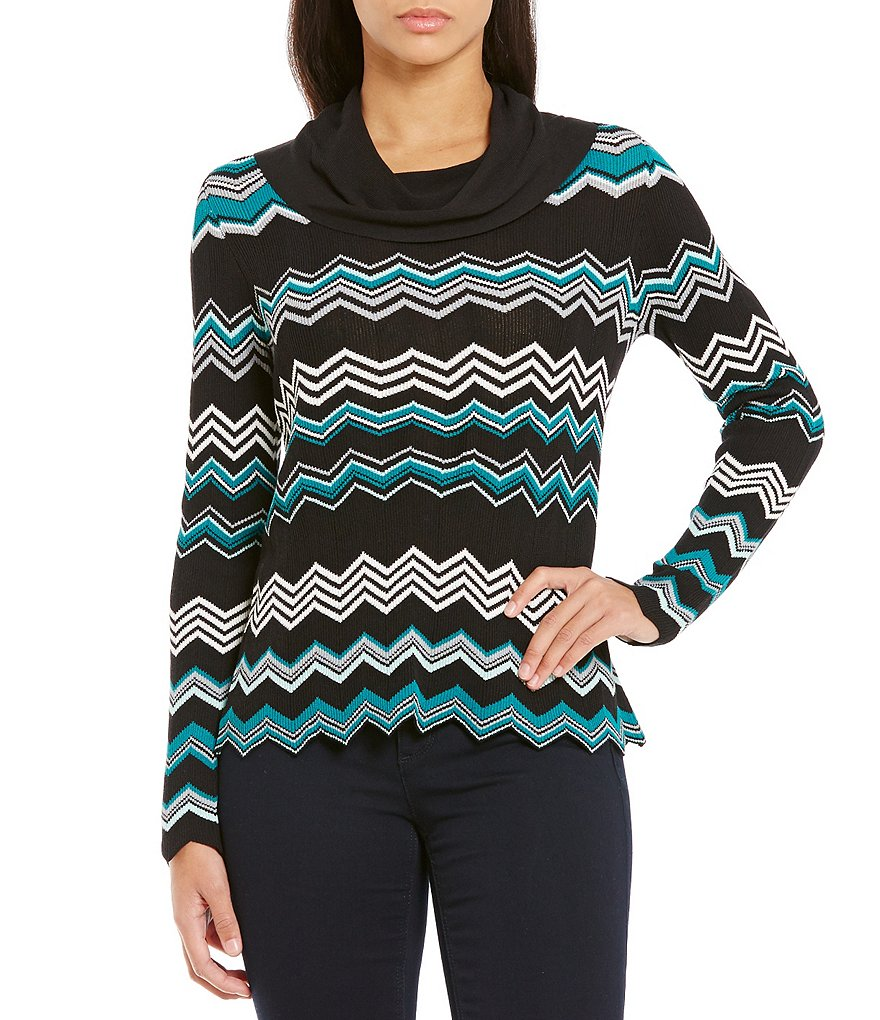 Jones New York Chevron Stripe Cowl Neck Top