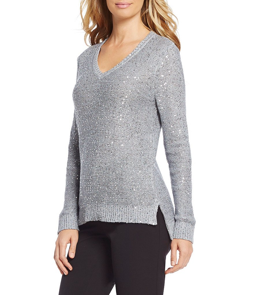 Jones New York V-Neck Hi-Low Hem Sequined Texture Knit Sweater