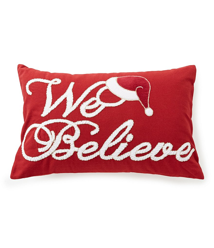Noble Excellence We Believe Santa Hat Embroidered Pillow