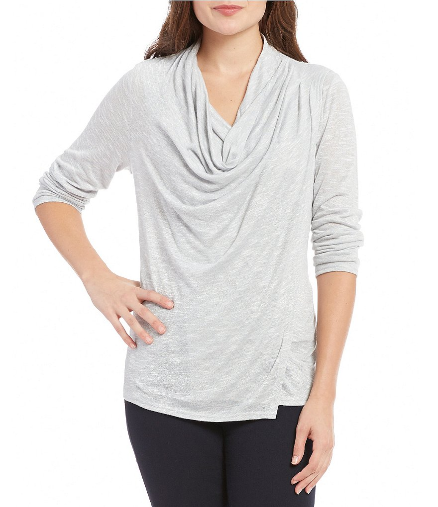 Jones New York Drape Front Pleated Shoulder Marled Knit Top