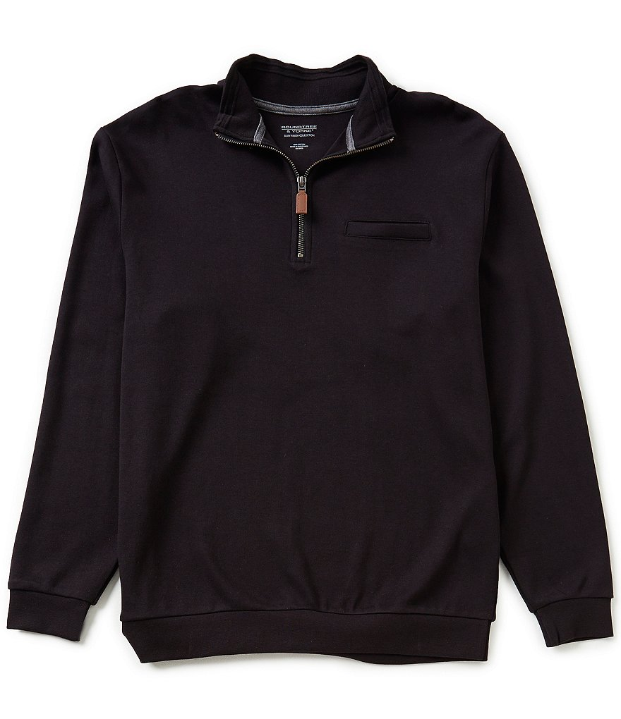 Roundtree & Yorke Silky Finish Long-Sleeve Solid Quarter-Zip Pullover