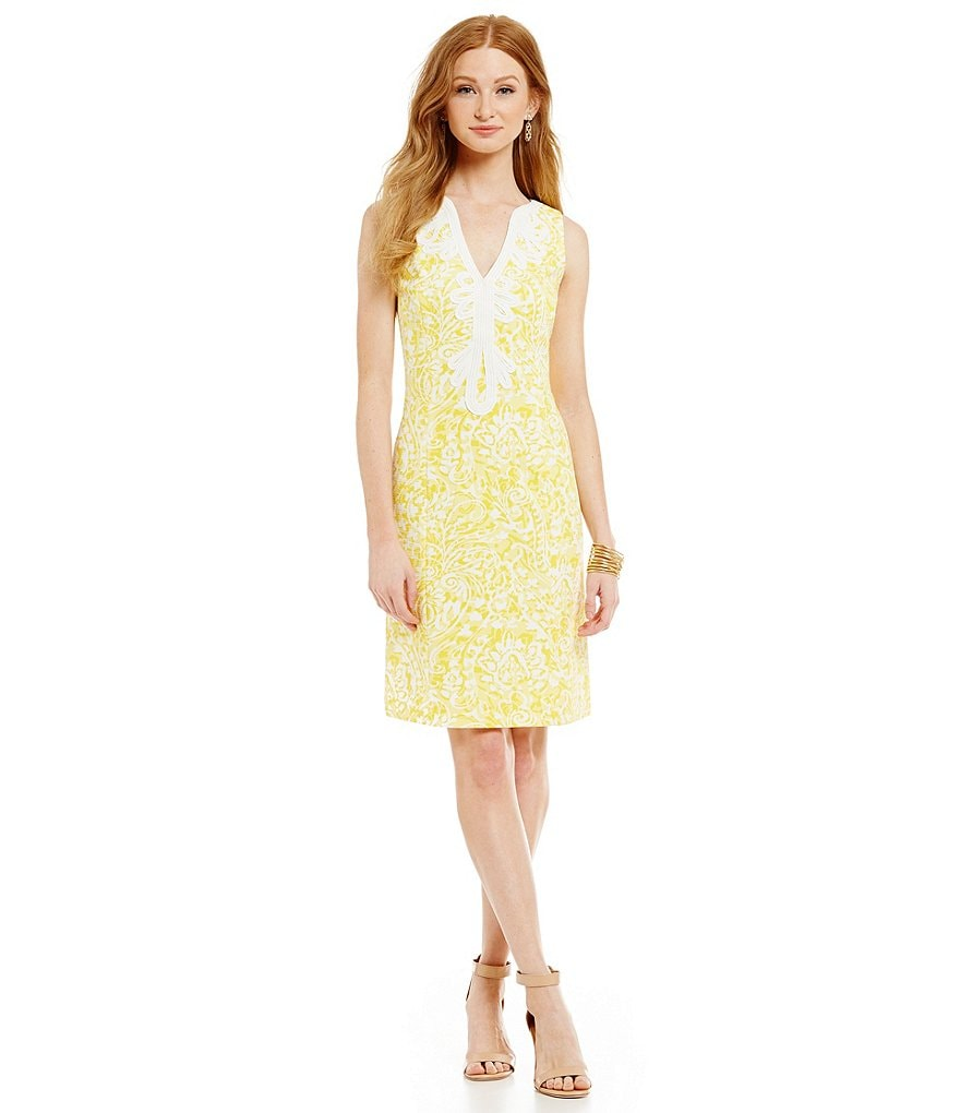 Eliza J Printed Embellished Sheath Dress