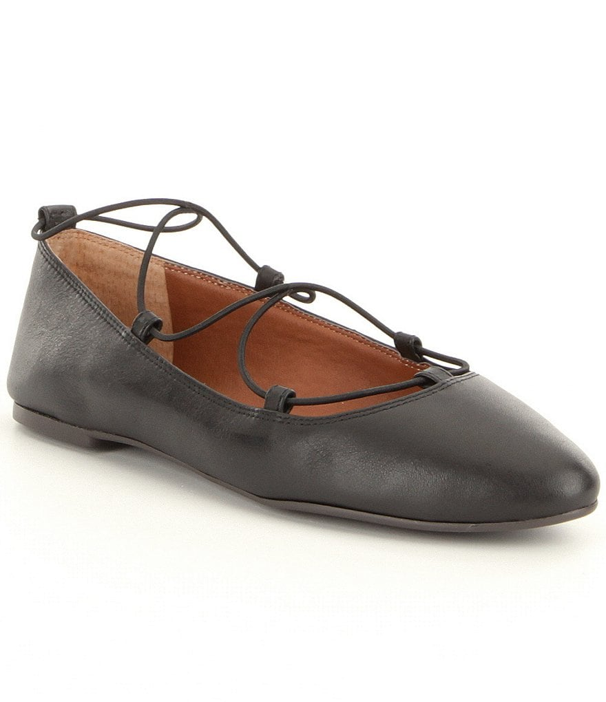 Lucky Brand Aviee Leather Crisscross Elastic Band Flats