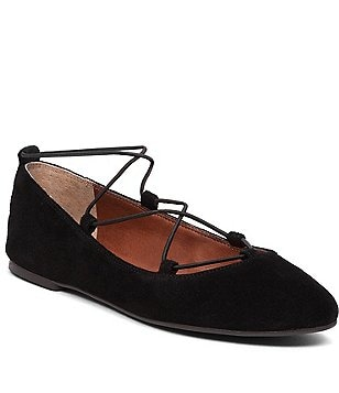 Lucky Brand Aviee Suede Criss-Cross Elastic Banded Suede Flats