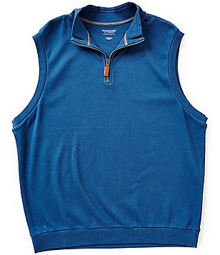 Roundtree & Yorke Silky Finish Quarter-Zip Solid Vest Pullover