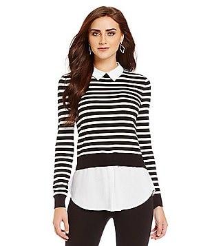 Cremieux AJ Layered Stripe Knit Top