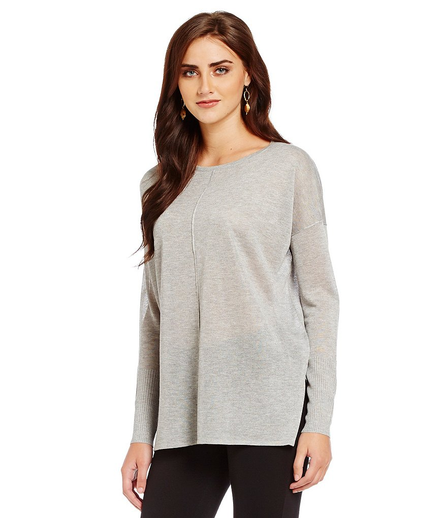 Cremieux Andi Knit Long Sleeve Hi-Low Tunic Top