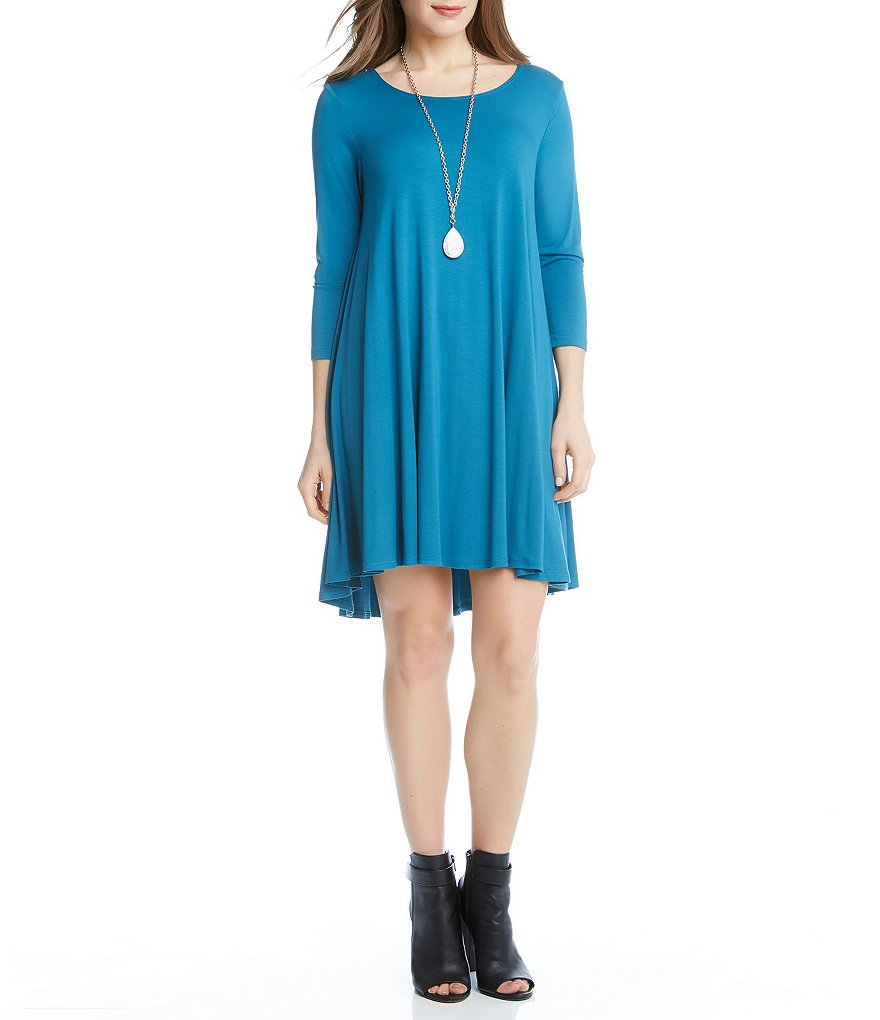 Karen Kane Baltic Blue Maggie 3/4 Sleeve Hi-Low Trapeze Dress