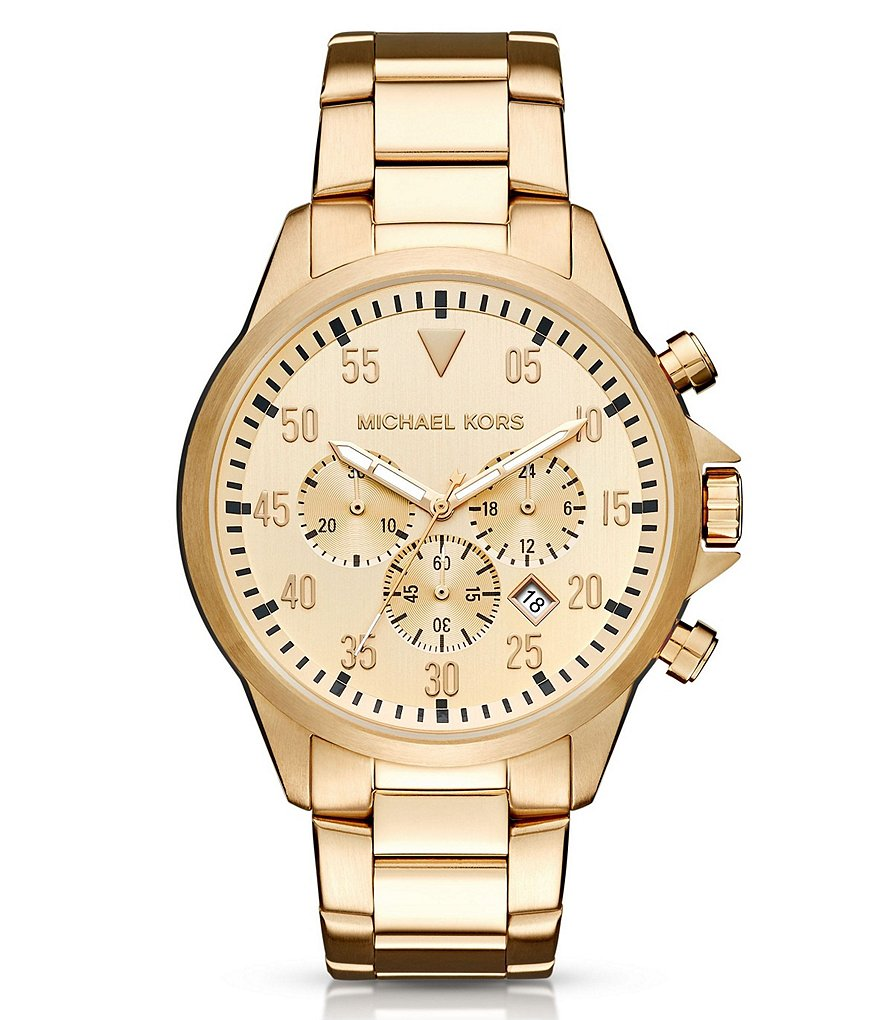 Michael Kors Gage 3 Hand Chronograph Stainless Steel Bracelet Watch