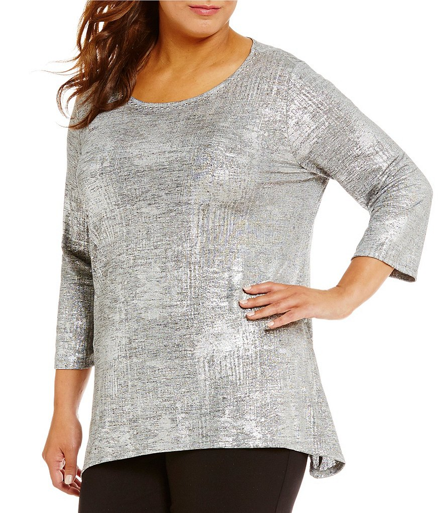 Ruby Rd. Plus Embellished Scoop Neck Foil Print Heather Jersey Top