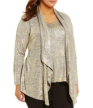 Ruby Rd. Plus 2-Fer Brushed Foil Print Heather Jersey Cardigan