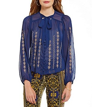 Band Of Gypsies Embellished Tie-Neck Blouse