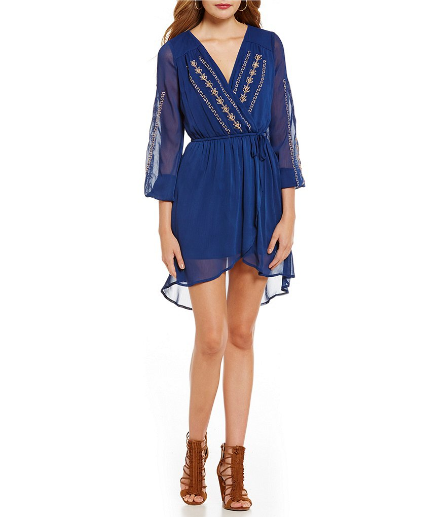 Band Of Gypsies Embellished Faux Wrap Dress