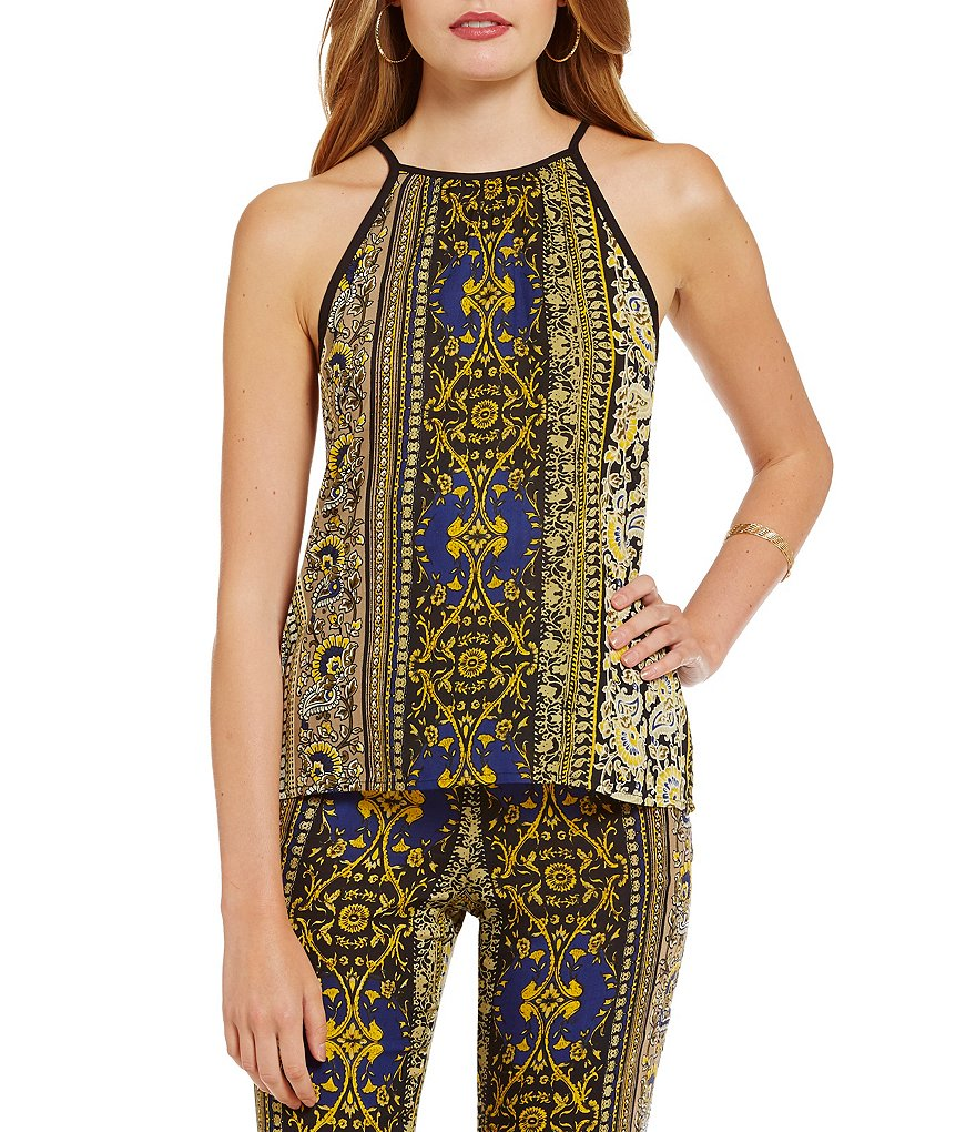 Band Of Gypsies Paisley Stripe High Neck Cami