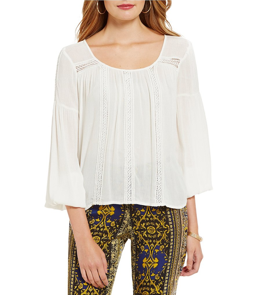 Band Of Gypsies Crochet Inset Peasant Top