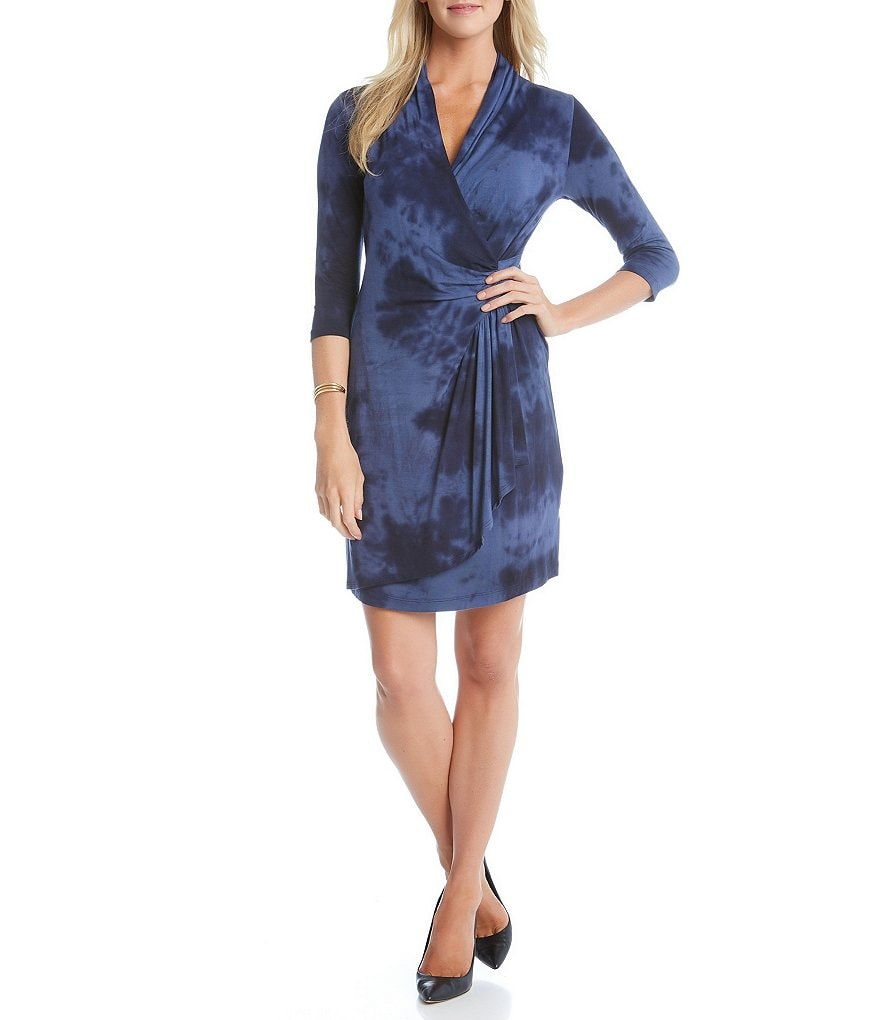 Karen Kane 3/4 Sleeve Cascade Wrap Tie Dye Dress