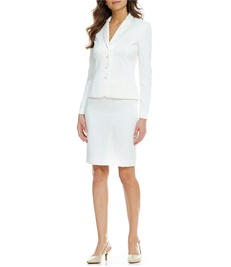 Tahari ASL Bead-Neck Jacquard Skirt Suit