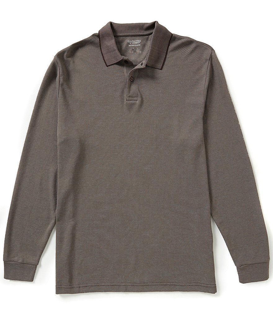 Roundtree & Yorke Silky Finish Long-Sleeve Jacquard Solid Polo