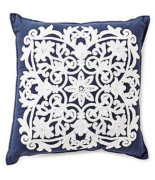 Southern Living Tile Medallion-Embroidered Square Pillow