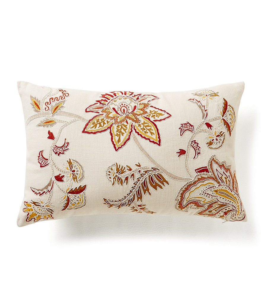 Noble Excellence Nature´s Neutrals Floral Jacobean-Embroidered Linen Breakfast Pillow