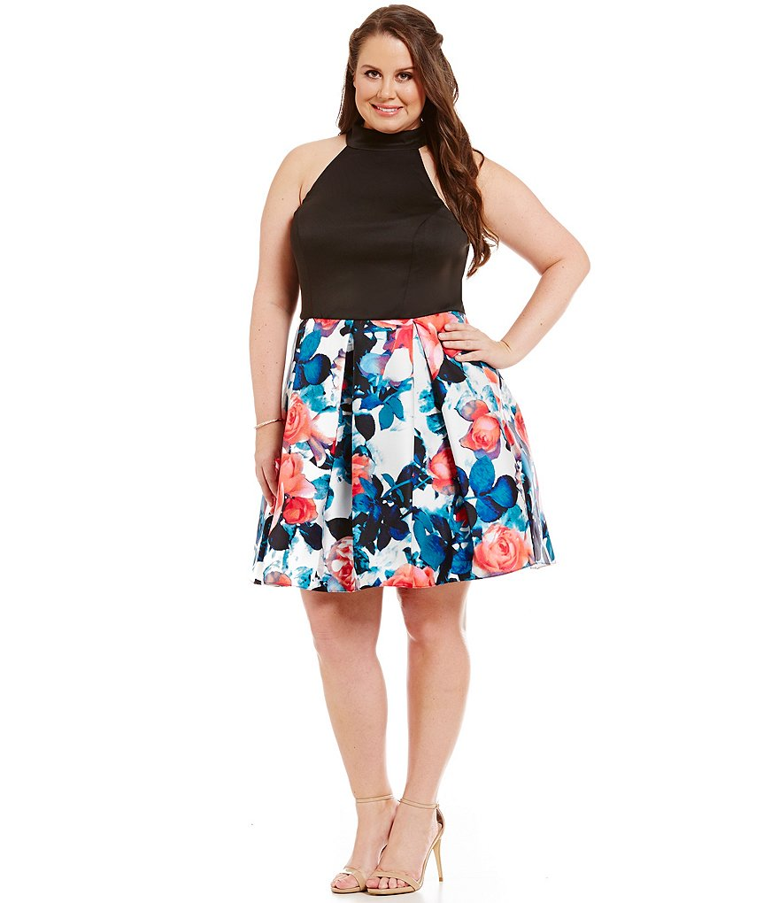 B. Darlin Plus Floral-Blocked Halter Skater Dress