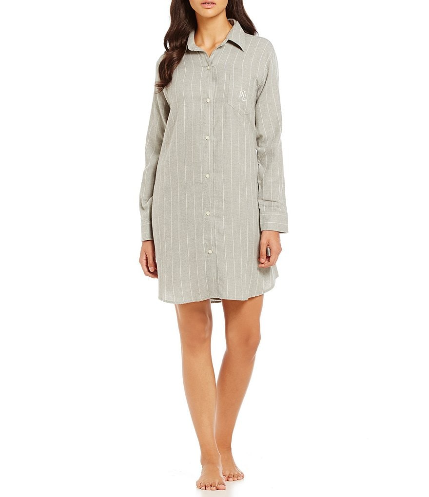 Lauren Ralph Lauren Striped Twill Sleepshirt