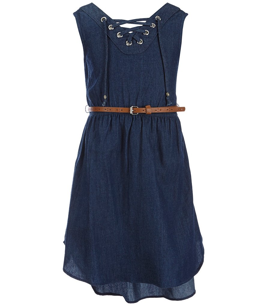 Sweet Heart Rose Big Girls 7-16 Belted Chambray Dress