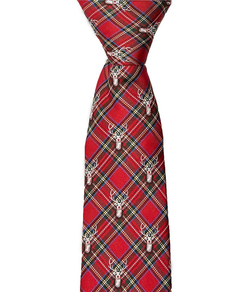 Class Club Plaid Deer Silk Zipper Tie
