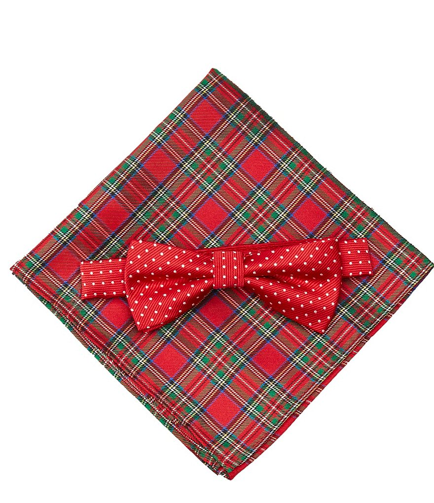 Class Club Plaid/Dotted Pocket Square and Bow Tie Set