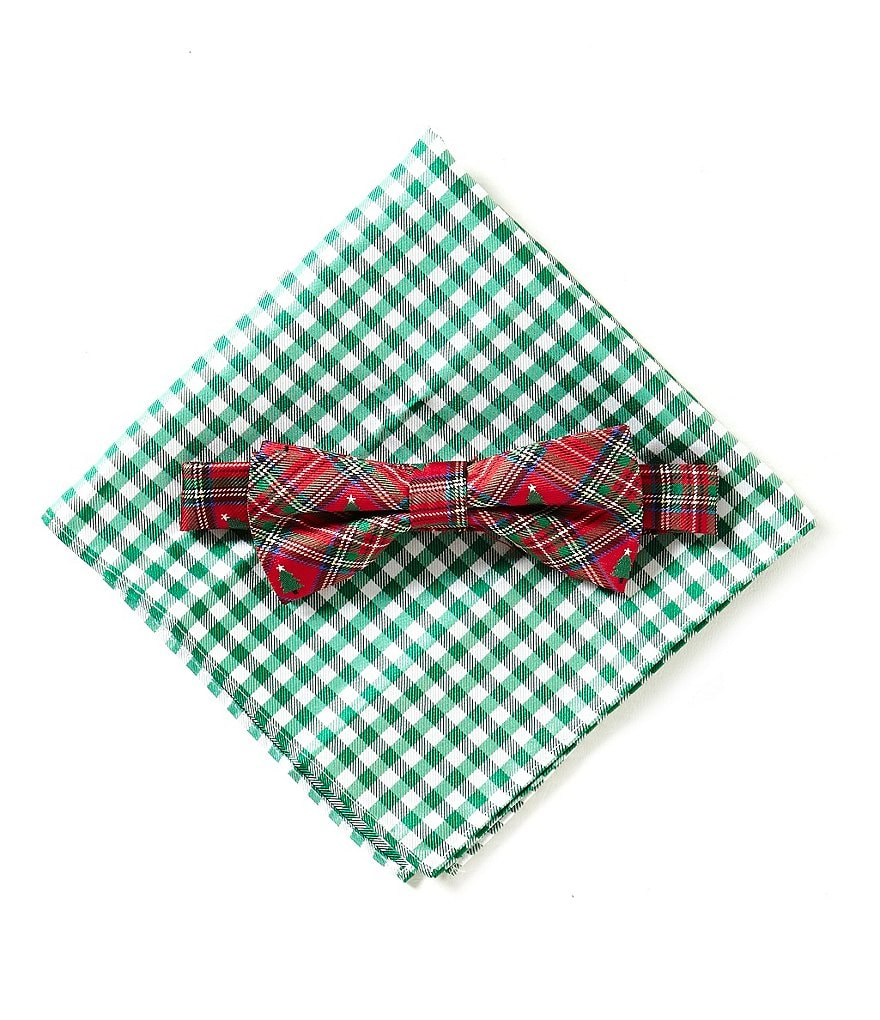 Class Club Plaid/Gingham Pocket Square and Bow Tie Set