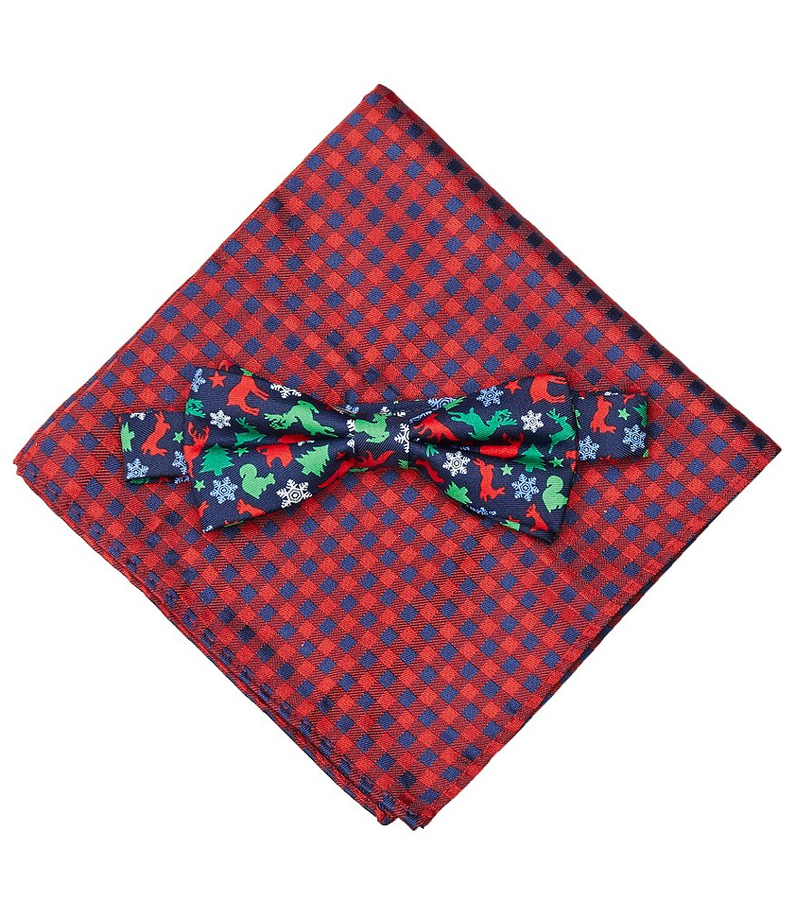 Class Club Christmas Animal Pocket Square and Bow Tie Set