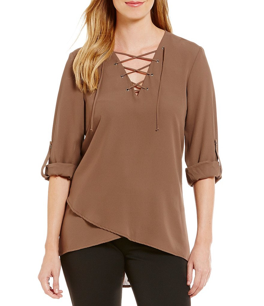 Karen Kane Lace-Up Neck Roll-Tab Sleeve Top