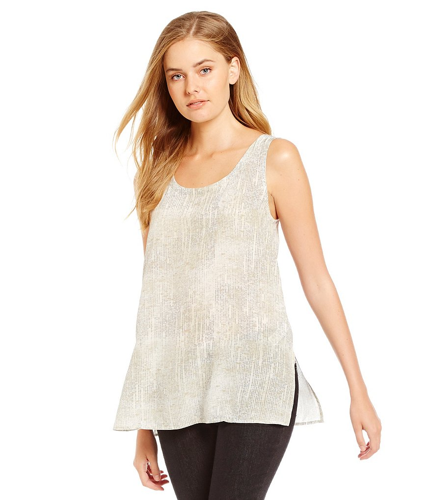 Eileen Fisher Scoop Neck Long SIlk Tank