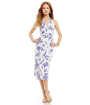 Katherine Kelly Jada Floral Wrapfront Midi Halter Dress
