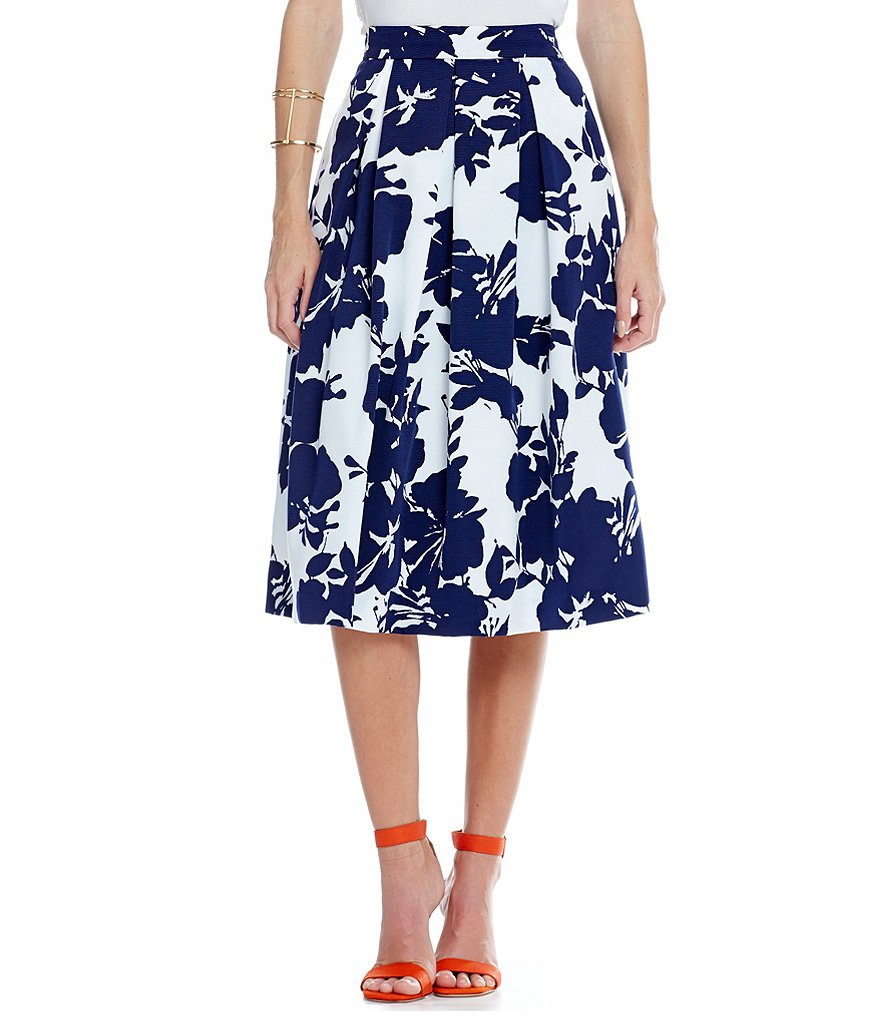 Katherine Kelly Cara Floral Print A-Line Skirt