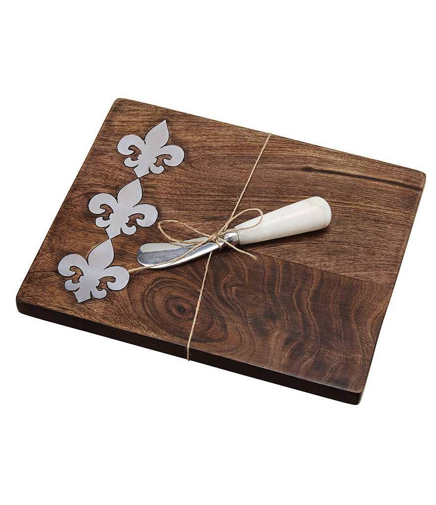 Mud Pie France Collection Fleur de Lis Mango Wood & Metal Bar Board with Marble-Handled Spreader
