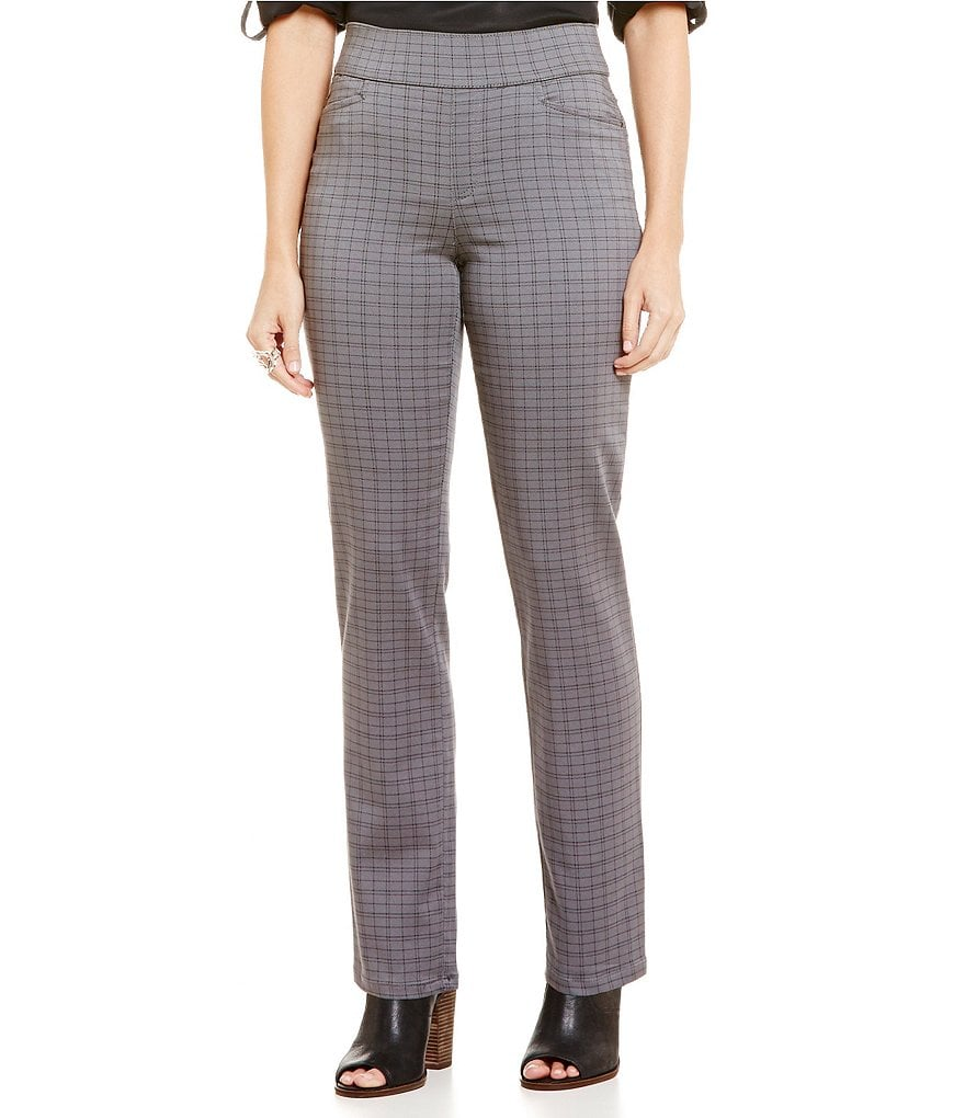 Intro Sheri Pull-On Straight Leg Pintuck Plaid Print Pant