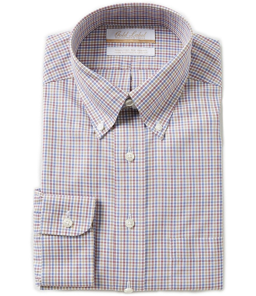 Gold Label Roundtree & Yorke Checked Non-Iron Regular Full-Fit Button-Down Collar Dress Shirt