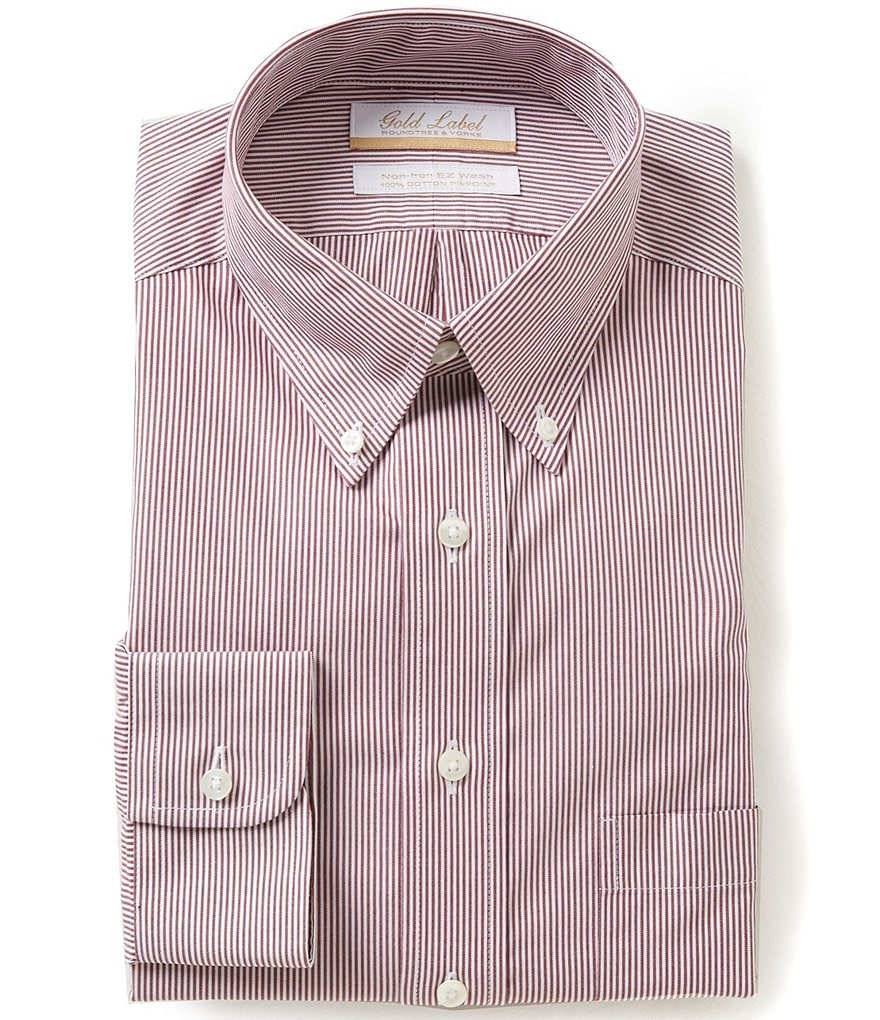 Gold Label Roundtree & Yorke Non-Iron Regular Full-Fit Bengal-Striped Button-Down Collar Dress Shirt
