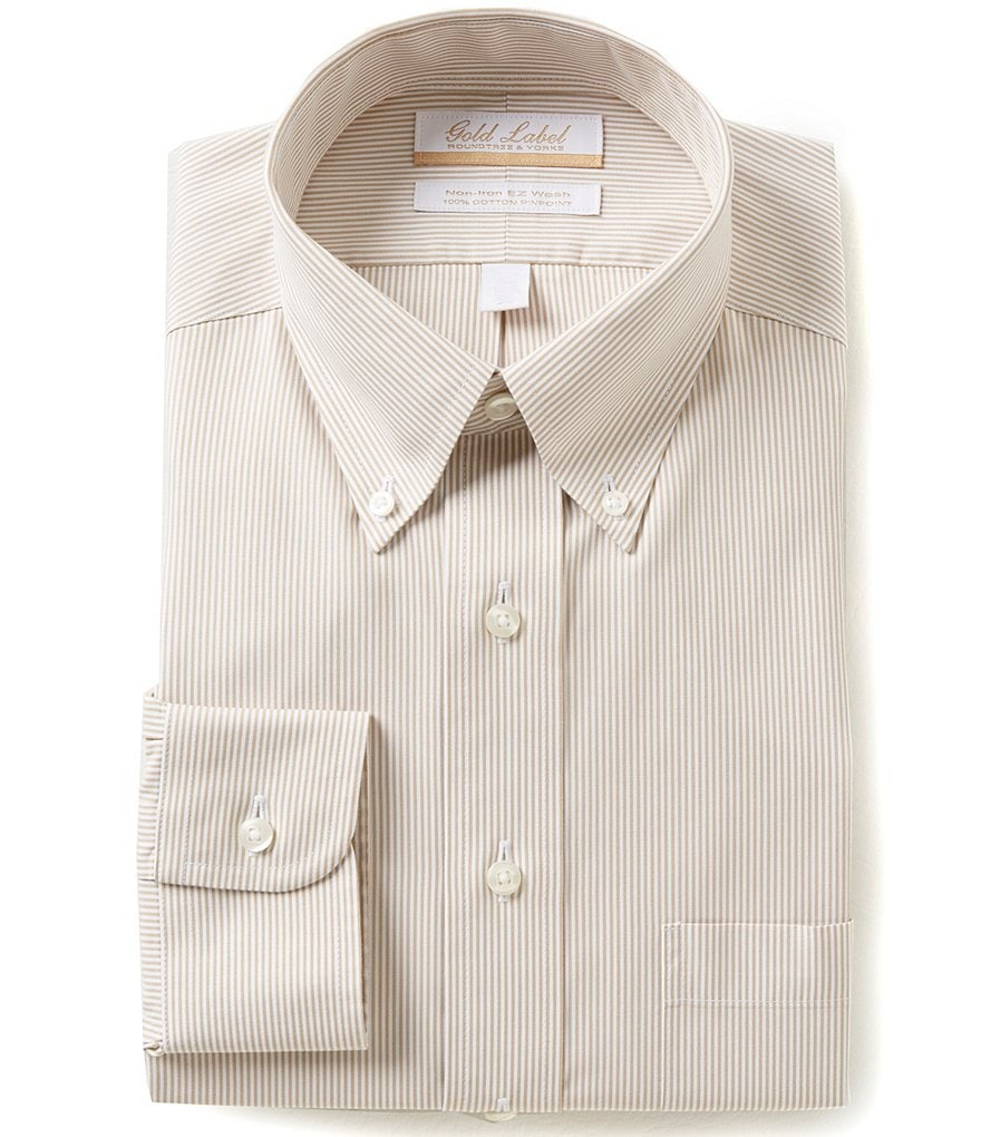 Gold Label Roundtree & Yorke Non-Iron Regular Full-Fit Button-Down Collar Bengal-Striped Dress Shirt